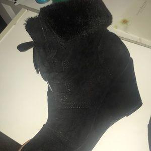 black fur booties